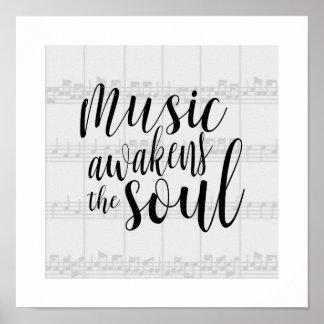 Music Awakens the Soul Custom Color Poster