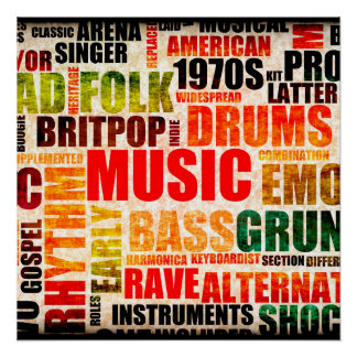 Music Background With Different Genres and Types Poster