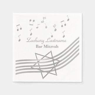 Music Bar Mitzvah Silver Disposable Serviette