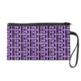Music Black Tenor Alto Clef on Lavender Purple Wristlet Clutch