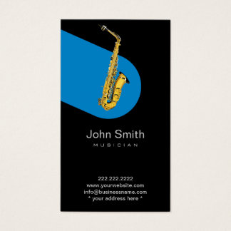 Music Blue Jazz Saxophone Musician Dark Business Card