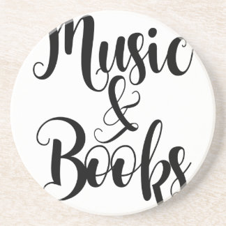 music & books quote typography script gift trendy coaster