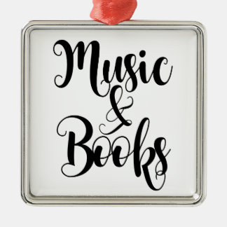 music & books quote typography script gift trendy Silver-Colored square decoration