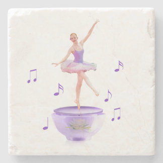 Music Box Ballerina with Water Lily Customizable Stone Coaster