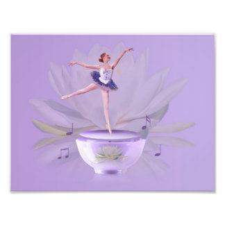 Music Box Ballerina with Water Lily Photographic Print