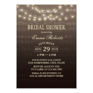 Music Bridal Shower Elegant String Lights Card