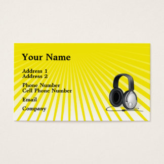 Music Business Card - Headphones - Yellow