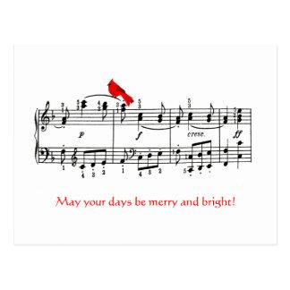 Music & Cardinal Red Bird Christmas Postcard