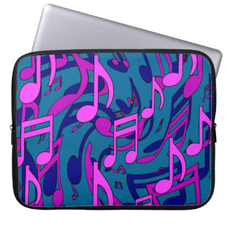Music Cheerful Musical Notes Blue Green Pink Laptop Sleeves