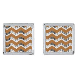 Music Chevron Cufflinks in Groovy Orange Silver Finish Cuff Links