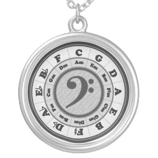 Music Circle of Fifths - Bass Clef version Silver Plated Necklace