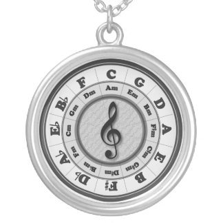 Music Circle of Fifths Silver Plated Necklace