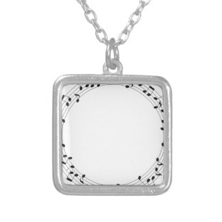 Music Circle Silver Plated Necklace