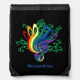 Music Clef Bouquet Customizable Name Drawstring Bag