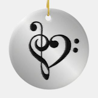 Music Clef Heart Distressed Ceramic Ornament