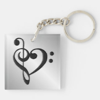 Music Clef Heart Distressed Key Ring