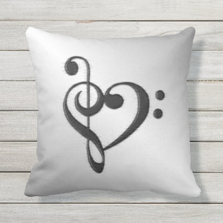 Music Clef Heart Outdoor Cushion