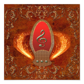 Music, clef made of diamond with floral elements 13 cm x 13 cm square invitation card