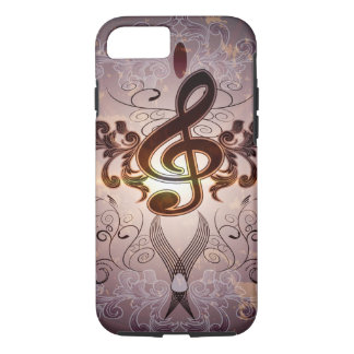 Music, Clef with elegant floral design iPhone 7 Case