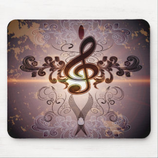 Music, Clef with elegant floral design Mousepads