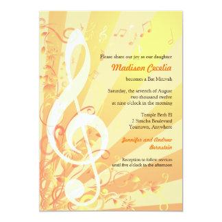 Music Clefs Bat Mitzvah Invitation