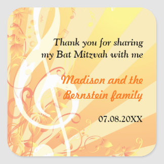 Music Clefs Bat Mitzvah Sticker