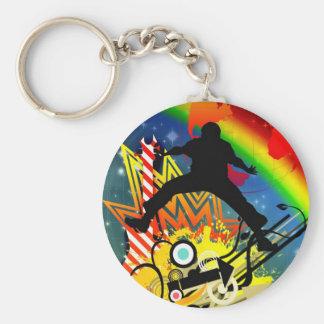 Music colorful illustration basic round button key ring