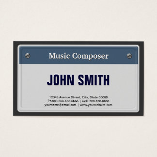 Music Composer - Cool Car License Plate Business Card