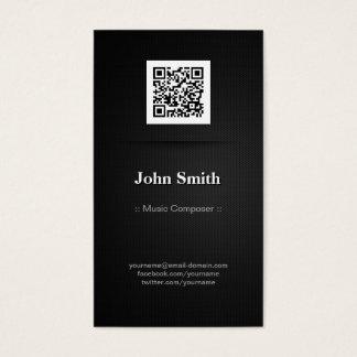 Music Composer - Elegant Black QR Code Business Card