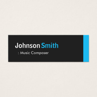 Music Composer - Personal Aqua Blue Mini Mini Business Card