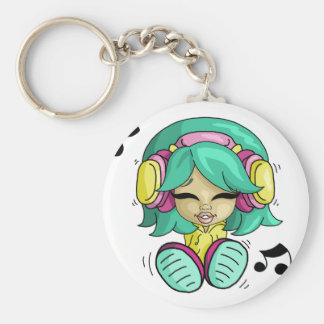 Music cutie basic round button key ring