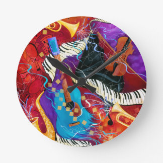 Music Decor Clock Jazz Piano Sax Guitar Colorful