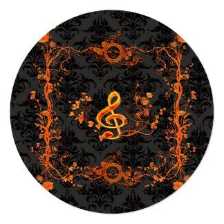 Music, decorative clef 13 cm x 13 cm square invitation card