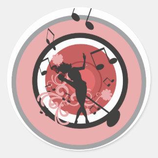 music diva vector round sticker