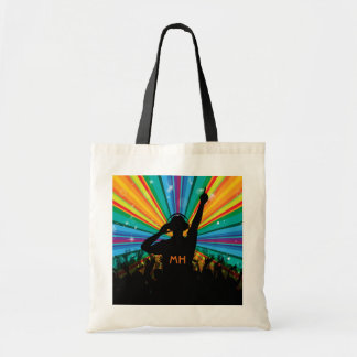 Music DJ custom monogram tote bags