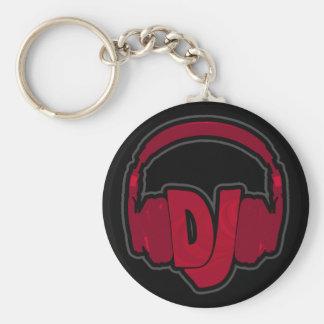 music DJ headphone Basic Round Button Key Ring