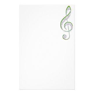 MUSIC Emerald and Diamond Treble Clef Personalized Stationery
