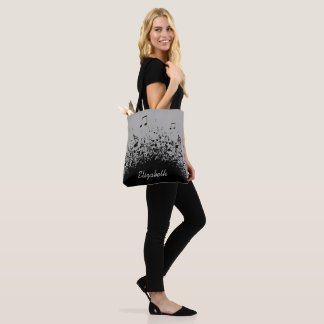 music explosion personalized name black grey tote bag