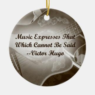 Music Expresses that guitar photo saying Ceramic Ornament