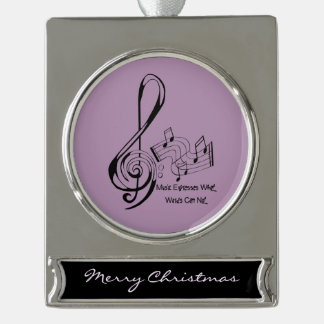 Music Expresses What Words Can Not Treble and Bass Silver Plated Banner Ornament