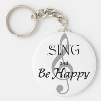 "Music Expressions ""SING and Be Happy"" Basic Round Button Key Ring"