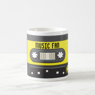 Music fan cassette with rainbow tape mug