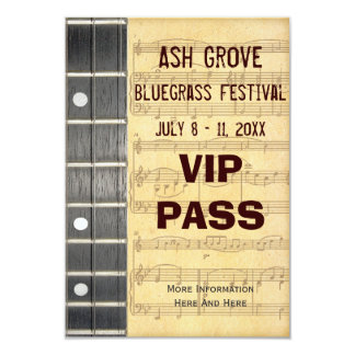 Music Festival Pass Banjo Bluegrass Theme (S) 9 Cm X 13 Cm Invitation Card