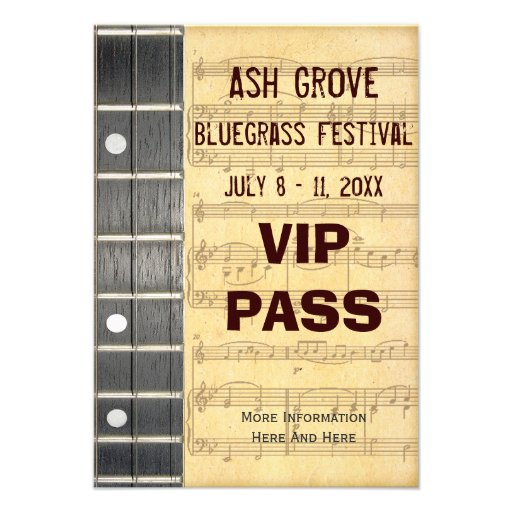 Music Festival Pass Banjo Bluegrass Theme (S) Custom Announcements