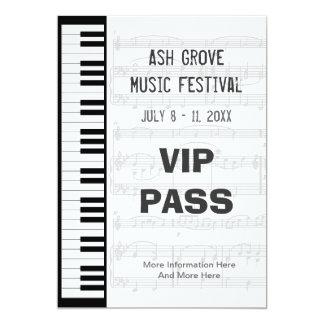 Music Festival Pass Piano Keyboard Theme Template Card
