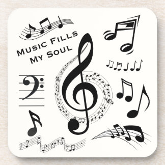Music Fills My Soul Quote Musical Notes / Set of 6 Coaster