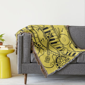 Music Film Line Art Design By Suzy Joyner Throw Blanket