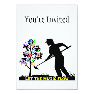 Music Flow Gardener 13 Cm X 18 Cm Invitation Card