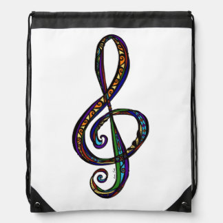 Music G Clef Drawstring Backpack