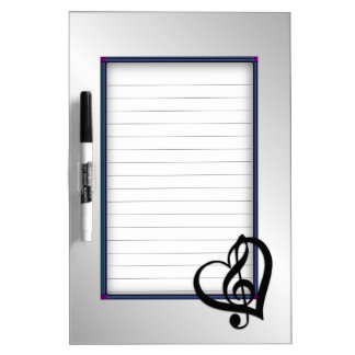 Music G Heart on Silver Lined Dry Erase Board